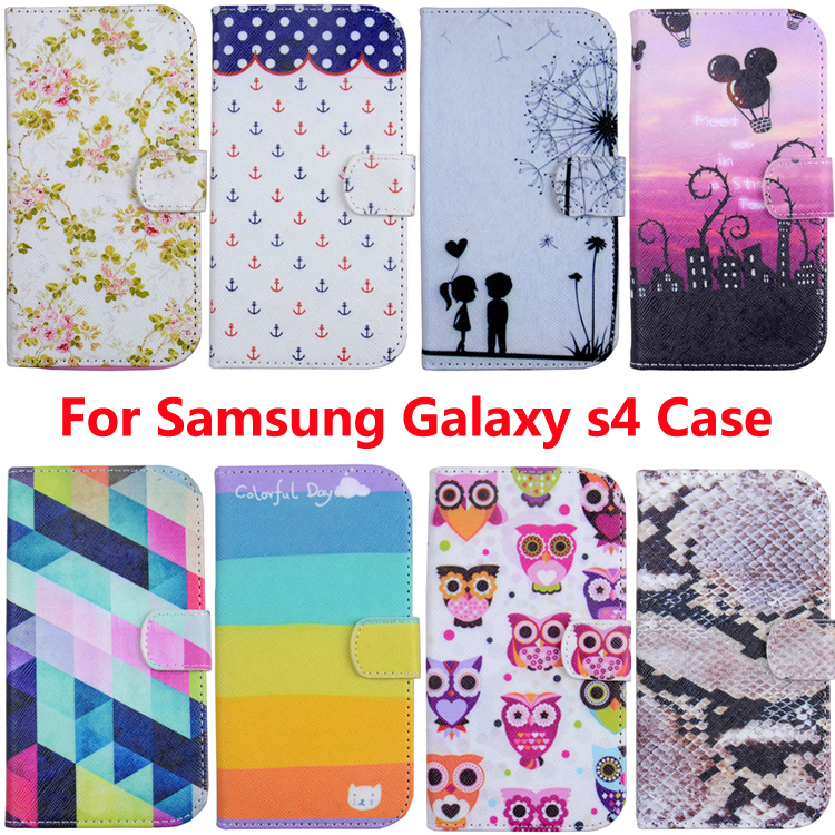 For Samsung Galaxy S4 Leather Case Pink Flowers Colorful Wallet PU Leather Flip Case Cover Stand For Samsung Galaxy S4 i9500(China (Mainland))