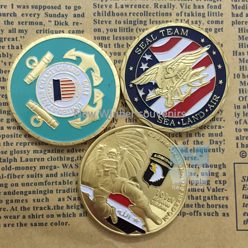 3PCS/set Sea Land Air Challenge Coins Seal Team Department Of The Navy United States Metal Operation iraqi Freedom Coin(China (Mainland))
