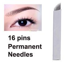30pcs Eyebrow 16pins Permanent Makeup needles for eye tattoos Prong flat blades 3d Microblading(China (Mainland))