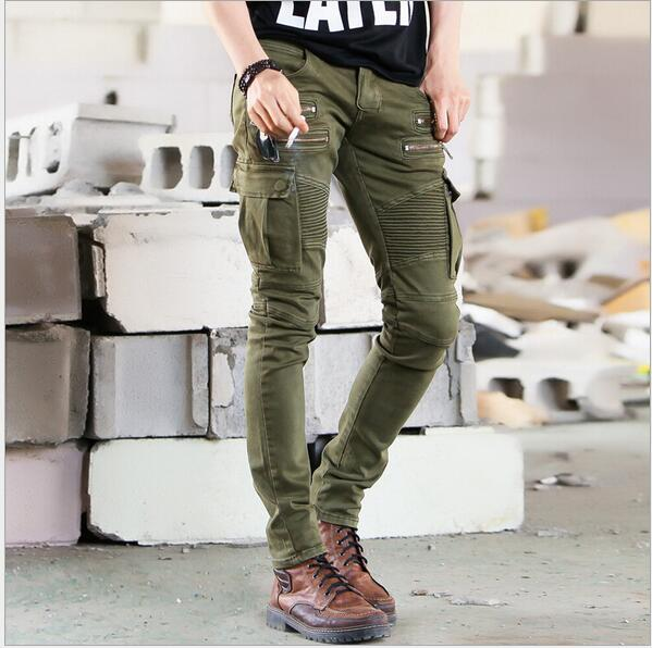 Wholesale New Men Fashion Runway Black Army Green Cargo Waxed Biker elastic pencil pants washed Jean Skinny Khaki Mens jeansОдежда и ак�е��уары<br><br><br>Aliexpress