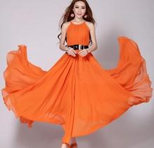Summer Elegant Women's Plus Size Beach Bohemia Expansion Bottom Chiffon Long Dress One-piece Dress Evening Dress
