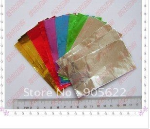 Free shipping ,180pc/lot tinfoil ,randomly colour ,size:L6xW6cm,Use to fill into clay or mix with clay when baking ,its shiny