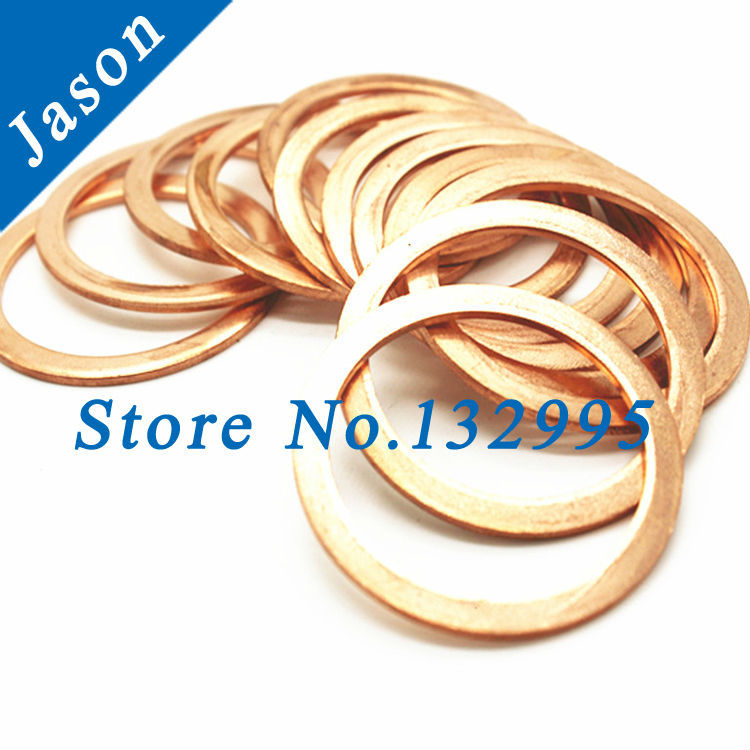 M14(14mm*19mm*1mm)  Copper Flat Washer, Seal washer, Brass washers, Copper Washer M14<br><br>Aliexpress