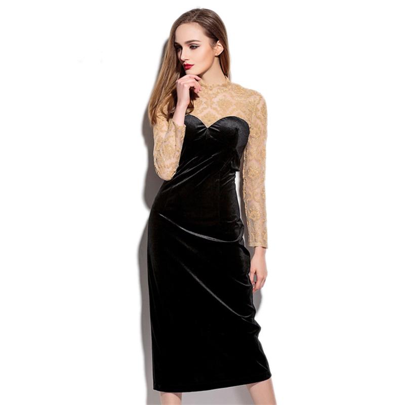 Women Elegant Long Sleeve Dress 2016 Spring New Sexy Lace Patchwork Midi Long Dresses Ladies Bodycon Vestidos 2256(China (Mainland))