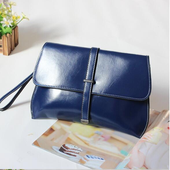 2016 new women's day clutch femal envelope bag multi-purpose cowhide messenger bag female bag small cowhide evening bag()
