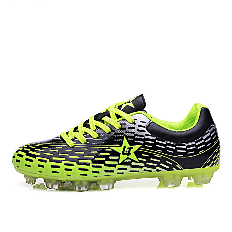 Men Boy Soccer Cleats Outdoor Football Boots Studs Green Orange Football Cleats Boots Shoes Men Sport Football Leather Trainers(China (Mainland))