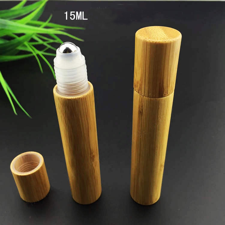 40pcs 15ML Mini bamboo roll on Bottle,plastic or stell ball/Sample Vial,Small Essential Oil roll on bottle Lip oil subpackage(China (Mainland))