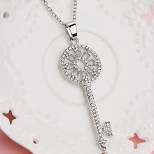 Buy Crystal Key Necklace Pendant Women Silver Plated Hollow Rhinestone Flower Long Chain Choker Statement Charm Fashion Jewelry for $1.33 in AliExpress store
