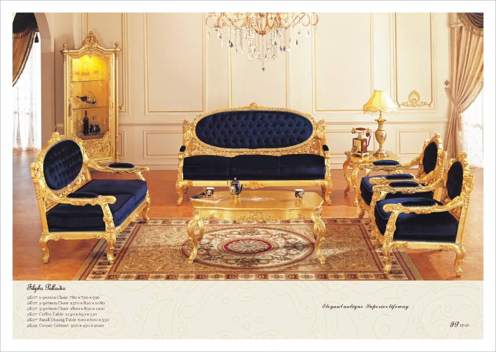 French Antique Furniture All Golden Foil Living Room Sofa Set Free Shipping In Living Room Sets
