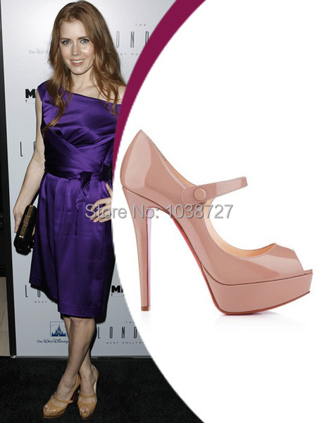Amy Adams Heels nude patent leather peep toe platform red bottom stiletto mary jane 120 mm heels pumps