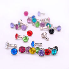 100 pcs Bling Diamond 3.5mm Earphone Jack Anti Dust Plug Cap Stopper mobile phone gadget accessories For IPHONE 5 4S Samsung Htc