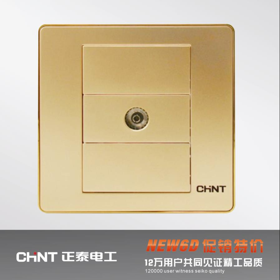 CHINT switch socket NEW6D champagne broadband TV distributor two out of the TV(China (Mainland))