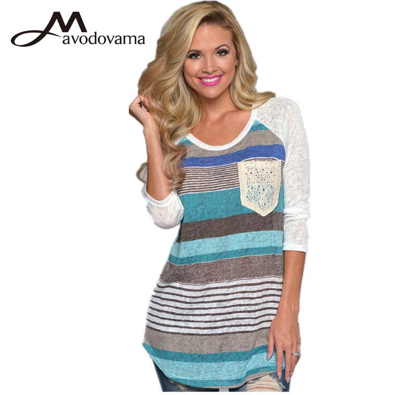 2015 новое поступление осень женщины блузка с длинными рукавами свободного покроя широкий полосатый о-образным образным вырезом рубашки бесплатная доставка