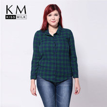 kissmilk 2016 Women Fashion Plus Size Summer Boyfriend Style Big Size Check Long Sleeve Shirt 3XL 4XL 5XL 6XL
