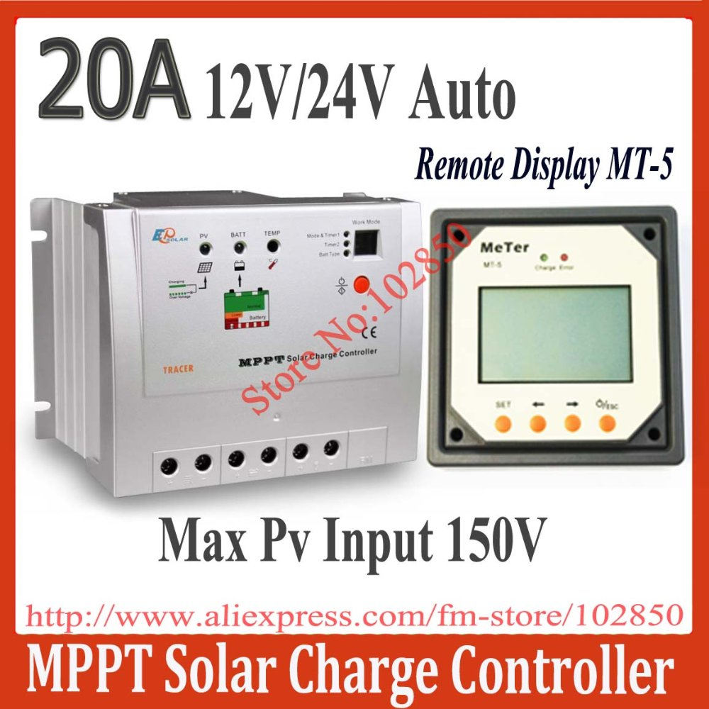 Brand New 20A Tracer2215 mppt solar controller with MT-5 remote display,12/24V auto work,150V DC max pv charge controller(China (Mainland))