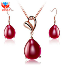 2015 Trendy Elegant Wedding Jewelry Sets for Women Luxury 18K Rose Gold Plated Water Drop Red Agate Necklace Earrings Set ZS004(China (Mainland))
