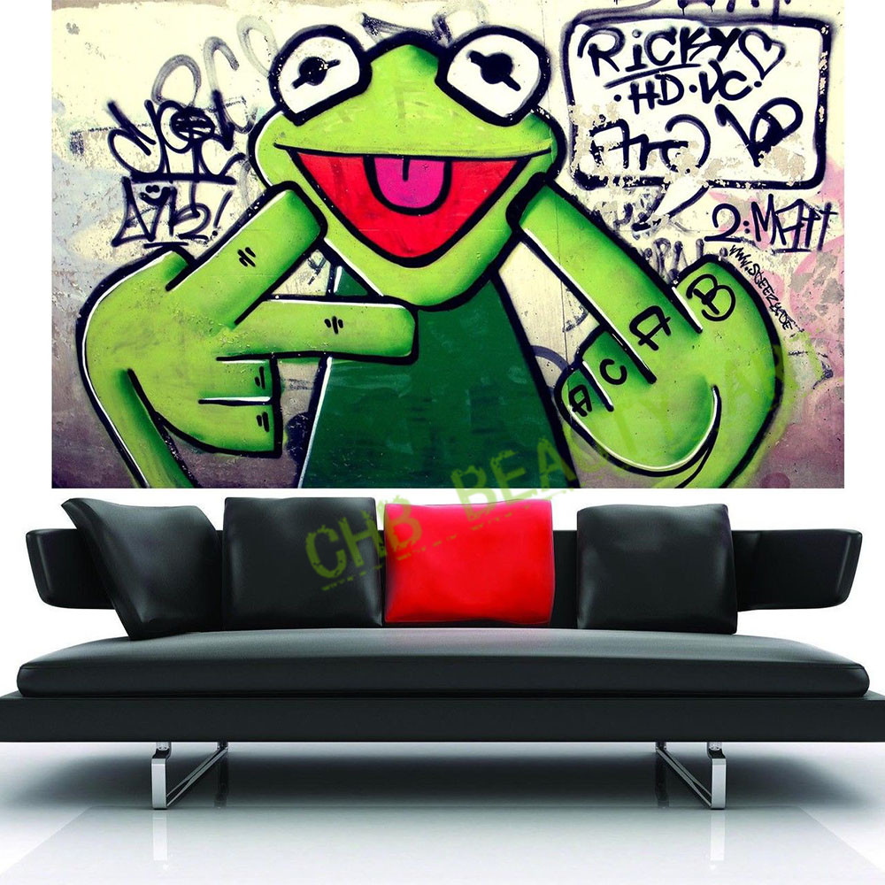 2016 Street Frog Kermit Finger Graffiti Art Canvas Painting Banksy Wall Pictures For Living Room Printed(China (Mainland))