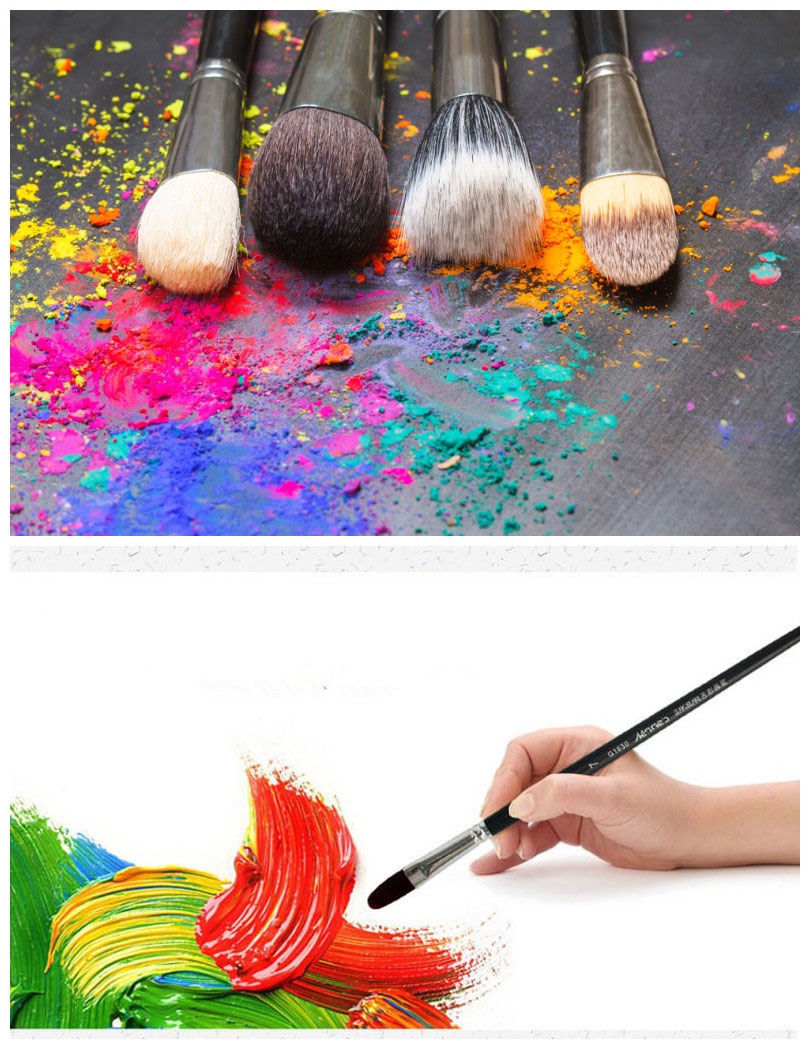 6pcs/Set,high-grade weasel hair Row of pens tongue peak  Paint Brush Acrylic Oil Painting Watercolor Professional Art Supplies