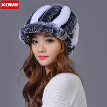 Luxury 100% Genuine Rex Rabbit Fur Hats for Women Knit Striped Mixed Colors Real Wool Headgear Beanies Warm Thick Winter Caps(China (Mainland))