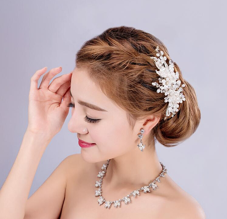 Sweetly crystal pearl tiara bridal hair jewelry hair combs women's head decorations banquet wedding hair accessories(China (Mainland))