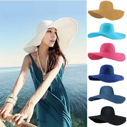 2015 new Fashion Summer Women's Ladies' Foldable Wide Large Brim Floppy Beach Hat Sun Straw Hat Cap Women free shipping,D1201(China (Mainland))
