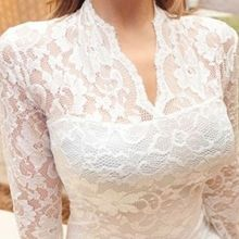 2015 New Sexy Womens Deep V Lace Long Sleeve Mini Dress Bodycon Hollow Out Club Party Dresses Free shipping E3369(China (Mainland))