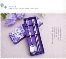 DHL Freeshipping 300sets  Wedding Favors Blue Colors Stainless-Steel Spoon and Chopsticks wedding gifts(China (Mainland))
