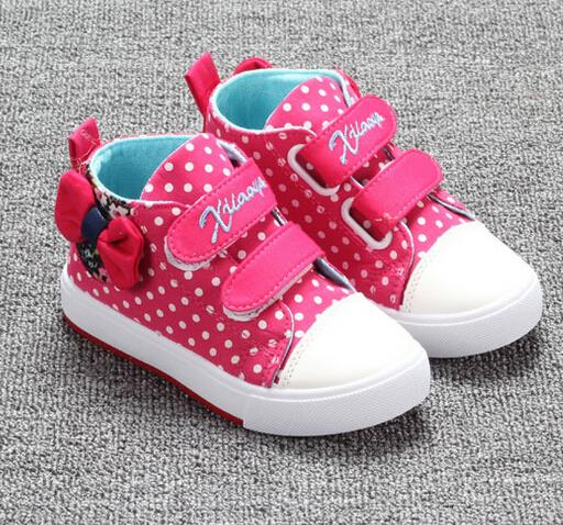 2016 autumn children shoes girls shoes lovely butterfly-knot high top canvas kids shoes for girl cute dot casual sneakers shoes