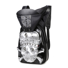 Rock Hot New Fashion Personality 3D skull leather backpack rivets skull backpack with Hood cap apparel bag cross bags hiphop man(China (Mainland))