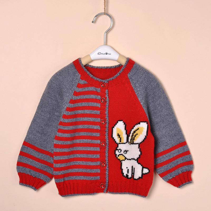Knit Rabbit Sweater Pattern : Handmade child knitted sweater baby rabbit pattern