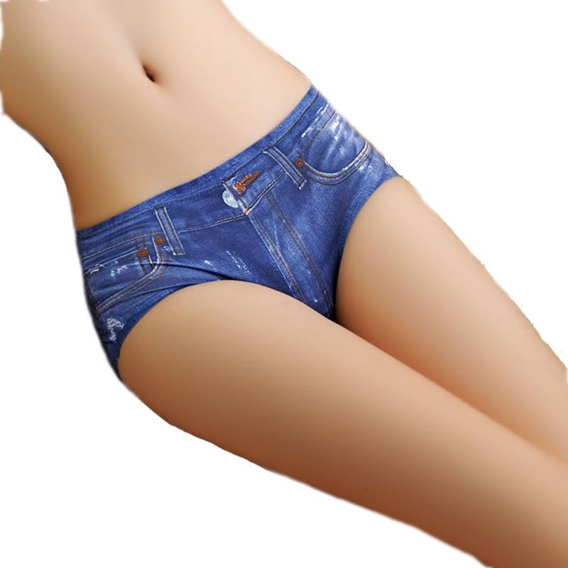 New Fashion 2016 Sexy Women 3D Denim Printing Panties Anti Emptied Underwear Seamless Briefs Hot Sales Lingerie #B0