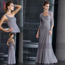J & Y Noble gris une épaule sirène mère de la mariée robe avec Jacket Appliques - parole longueur robes pour mère de la mariée(China (Mainland))