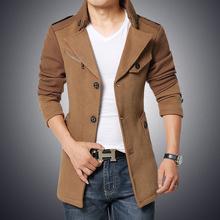 Hot Sale 2015 Fashion Brand Winter Jacket Men Turnd-down Collar Slim Fit  Mens Pea Coat High Quality Men Long Coat Wool Coat 4XL(China (Mainland))