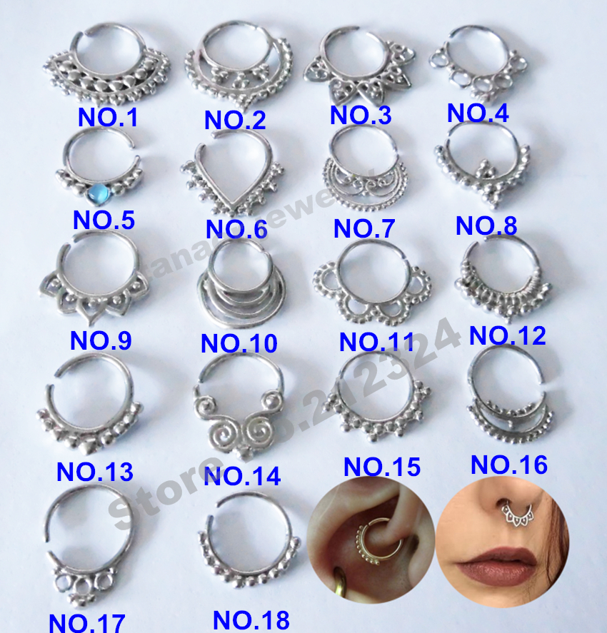 Buy hot hot all silver color surgical for Types of body jewelry rings