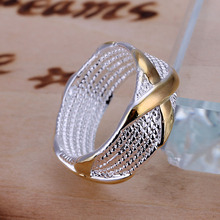 Free Shipping 925 Sterling Silver Ring Fine Fashion Color Separation X Silver Jewelry Ring Women Men
