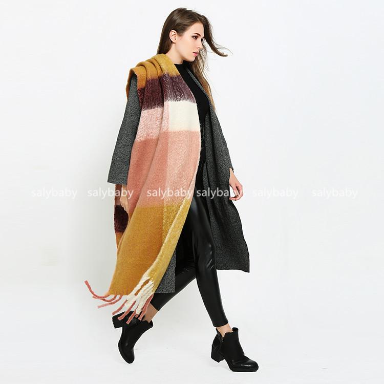 The 2016 New South Korean Big Plaid Scarf Shawl Fringed Winter Knit Thick Warm Dual-purpose Female Fashion