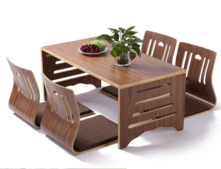 Modern Japanese Style Dining Table and Chair Asian Floor Low Solid Wood Table Legs Foldable Dining Room Set 4pcs Zaisu Chair(China (Mainland))