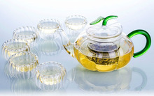 Pumpkin shaped Glass Teapot Tea Set Manually Blow molded Warmer 6 Double Wall Cups 10 Candles