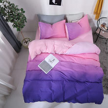 Purple Gradient Washed Cotton Bedding Set King Size Duvet Cover Bed Set Queen Soft Skin-friendly Luxury Bed linens Dropshipping(China)