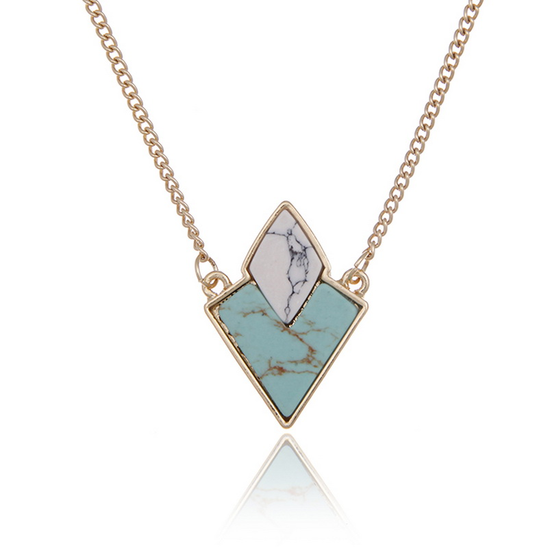 Double Tone Gold Chain Casual Turquoise Faux Marble Stone Geometric Pendant Necklace for Party Women Fashion Jewelry(China (Mainland))