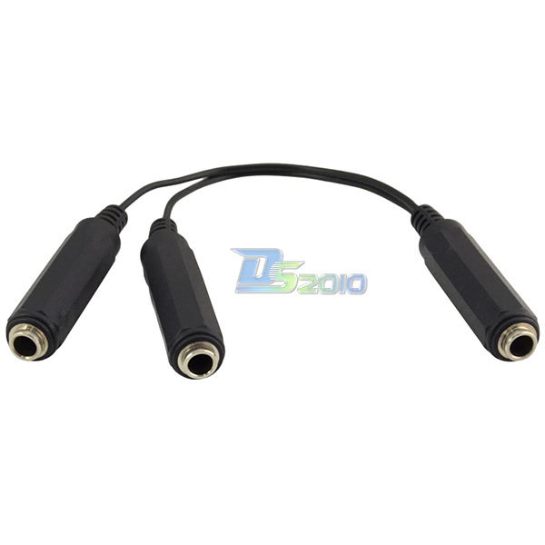 Best Quality 2X6.35mm SP Female Jack to Stereo 6.35mm Female Jack Audio Video Extension Cable(China (Mainland))