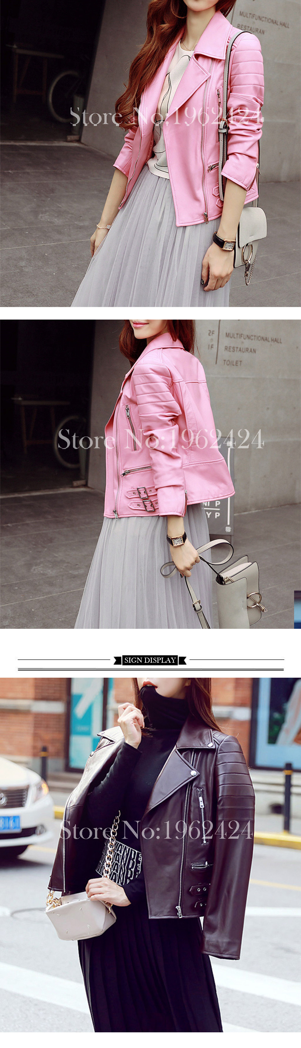HOT Free shipping 2016 new autumn fashion women high quality sheep skin leather motorcycle jacket lapel Slim rivet & XXL & Pink