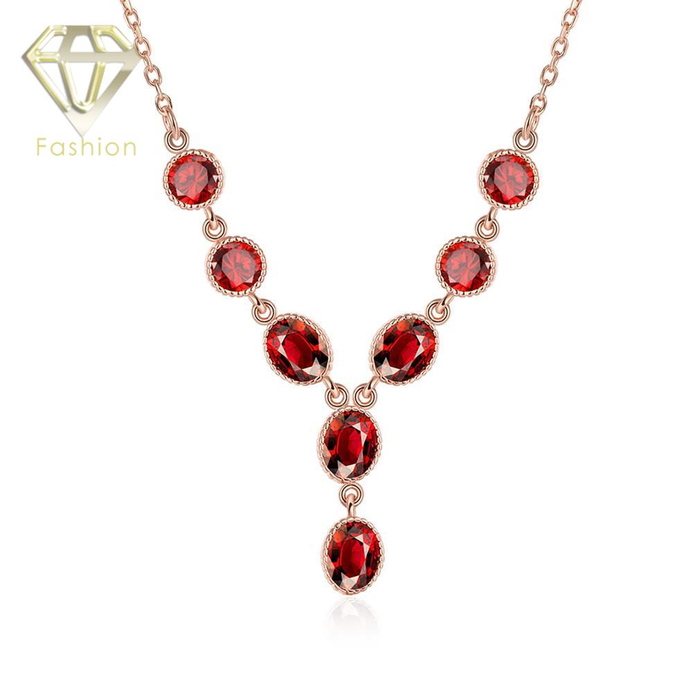 Rose Gold Plated Necklace with Multi Charm Round Red CZ Gemstones Pendant Beautiful Jewelry for Women Wedding Party Wholesale(China (Mainland))
