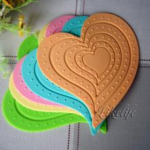 Fashion waterproof heart tableware pad coasters bowl pad disc pads table mat pot holder silica gel heat pad placemat(China (Mainland))