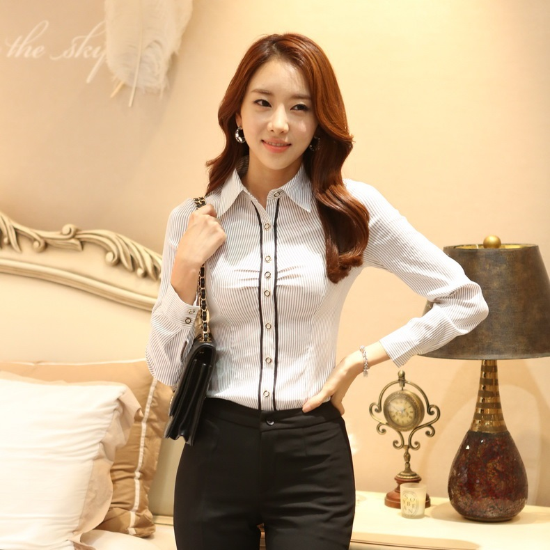 2015 Spring Fall Formal Women Blouses & Shirts Long Sleeve Striped Ladies Office Uniform OL Style - Kidmall Online Store store
