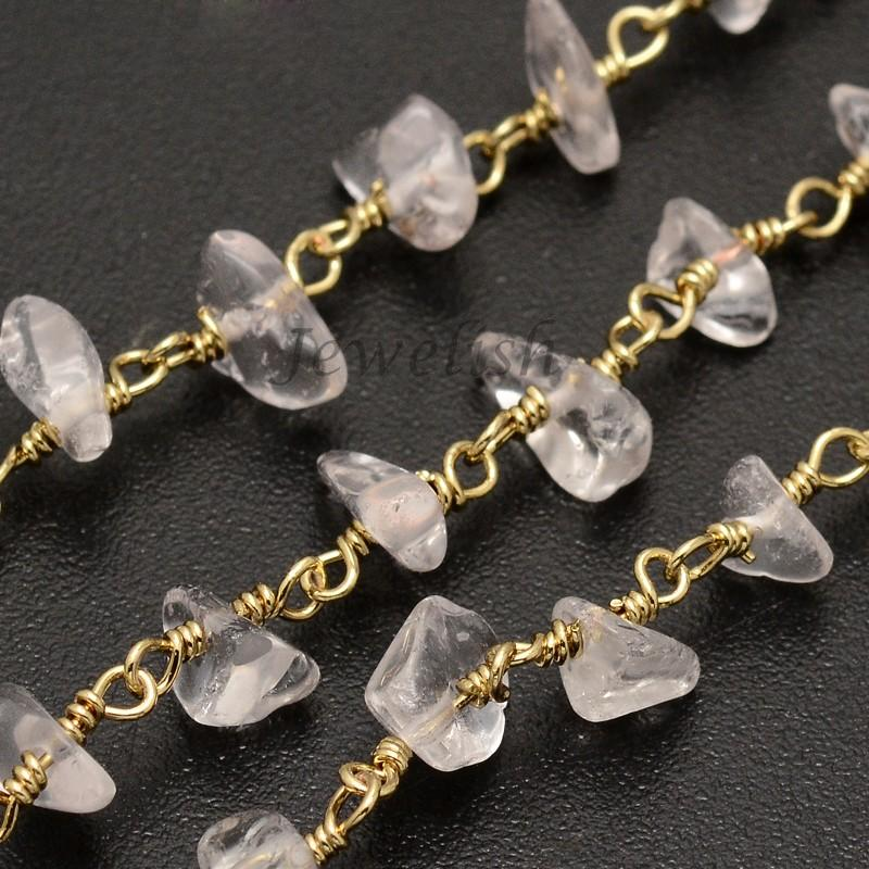 Handmade Crystal Chip Beaded Chains, wtih Golden Plated Brass Findings, 4~9x11x2~8mm<br><br>Aliexpress
