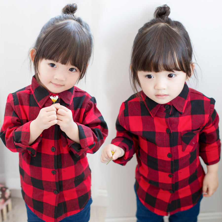 2016 Girls shirt Kids Blouse Long-sleeve Spring Autumn cotton Classic british plaid shirts Baby girls casual children - Hanna Children's Apparel store