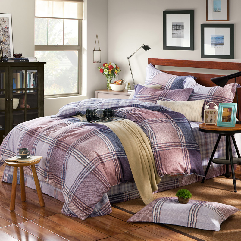 4pc college style boys plaid comforter case flat cover pillowcase