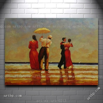 Large Oil Painting Of Formal Dressing People Dancing At Beach Portrait Famous Realistic Paintings Wall Frame