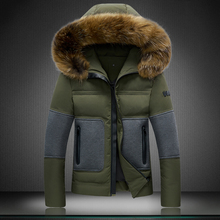 Men's Down Jackets Mens Brand Thick Warm Fur Collar Hooded Duck Down Coat Male Casual Winter Jacket Men chaqueta hombre(China (Mainland))